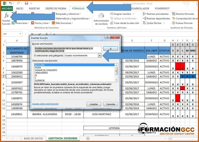 ventana de formulas para insertar en el formato de asistencia